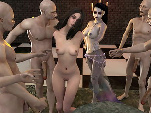 Slim 3d gal gets raped by a pack of horny demons.