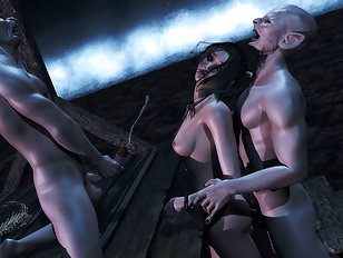Delicious 3d slut gets banged by two horny vampires.