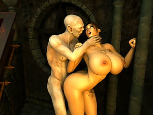 Horrible 3d monster cums over gorgeous babe's lovely tits.