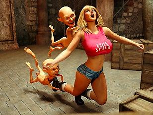 Two gnomes gang bang a pretty blonde human chick