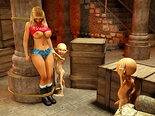 Blonde gal bound and abused by tiny 3D monsters