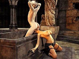 Drop dead hot 3D adventurer abused by a 3D monster
