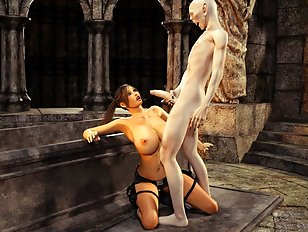 Undead 3D monster sticks his cold cock up Lara