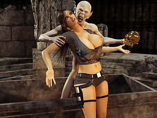 Hardcore pussy to monster cock action with Lara Croft