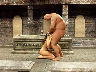 Tomb sex with a delicious 3D bitch with huge tits