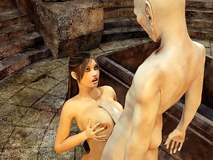 An old vampire stuffs his cock down 3D babe's throat