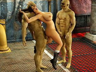 Two massive 3D dicks split both holes of a 3D girl open