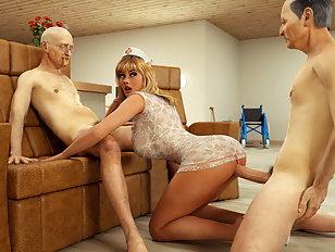 Naughty nurse in nursing home fucks two old men