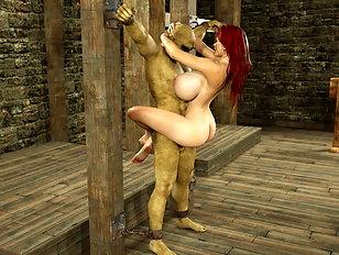 Horny vampire has his way with Lara Croft's soft tits