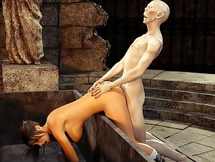 Submissive Lara Croft gets some undead attention