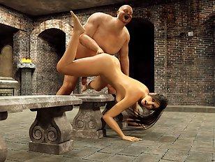 A very curvy human girl has fallen captive to horny ogres