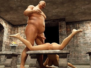 Thick ogre dick stretches out a cute 3D chick