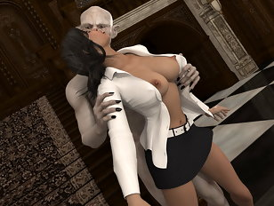 Old vampire with pale skin seduces and deflowers innocent schoolgirl