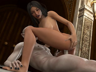 Cumshot all over her tits from an old vampire master