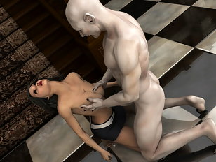 Big breasted 3D babe gets to fuck a vampire
