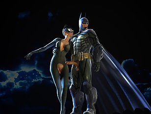 Batman prepares to bang catwoman in her butt
