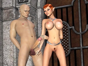 Redhead elf  girl handles a thick human cock with her mouth