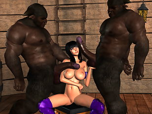 Two black monster dicks satisfy a hot babe with big 3D jugs