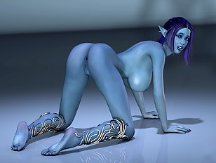Impressive 3D artwork of a naughty blue skin lady banging