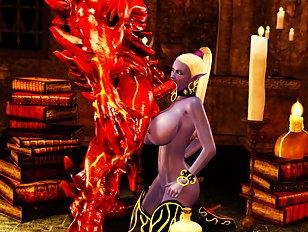 Ungodly creature sticks his member into curvy 3D vixen