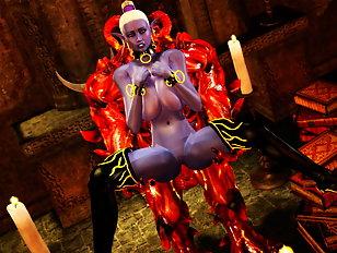 Happy sorceress screwed hard by a fiery 3D demon