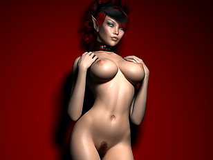 Hot blooded elven seductress strips in a chapel