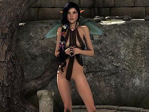 Frisky elven brunette exposing her hot XXX body