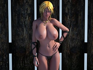Hot blonde elf show her natural 3D boobs in the nude