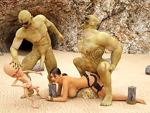 Three green skinned monsters play with nude Lara Croft