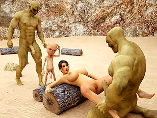 Wild 3D gangbang with ogres who love tight human holes