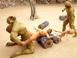 Green 3D monsters with huge dicks fuck Lara Croft hard