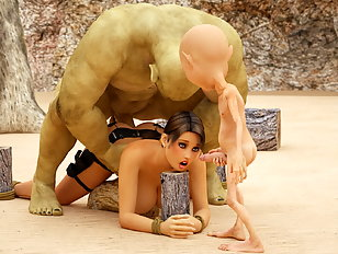 Busty human babe with huge 3D tits ravaged by a pair of ogres