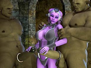 Shy 3D alien girl with huge knockers handles two monster dicks