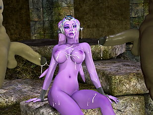 Erotic pink alien babe viciously double penetrated by monsters
