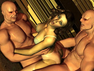 Two rough monster fuckers double penetrate a 3D babe