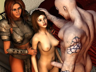 Lovely horny babes fuck with a pack of hairy 3d werewolves