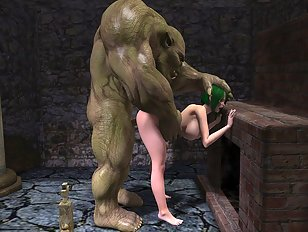 Wicked inhumane porn showing cute babe pounded by monsters
