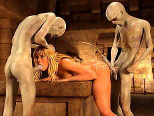 Wanton 3d monsters gang bang a delicious blonde nymph