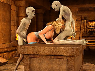 Wicked 3d gallery showing a tender babe invaded by monsters