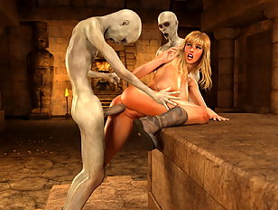 Craving 3d blonde moans while raunchy monsters shag her