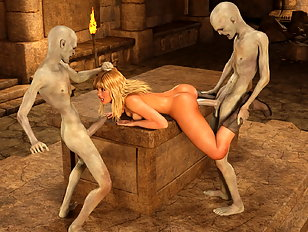 Wanton 3d vampires gang up on a lovely blonde babe