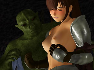 Lusty 3d slut gets invaded by a slimy evil monster