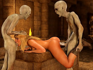 Kinky 3d blonde being fucked by dissolute monsters