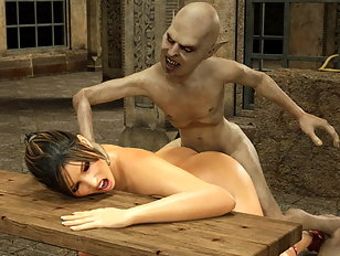 Salacious 3d creature invades a busty babe's sweet pussy