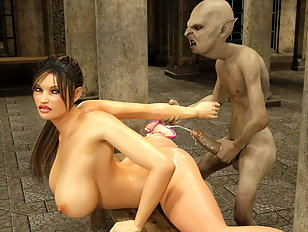 Horny 3d floozy enjoys being drilled by a nasty monster