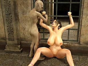 Vulgar 3d creature fucks with a sweet horny babe