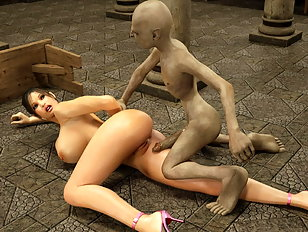 Lustful horny bimbo gags on an evil monster's cock