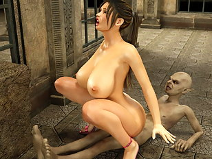 Graceful busty hottie loves to fuck with a horrible 3d monster
