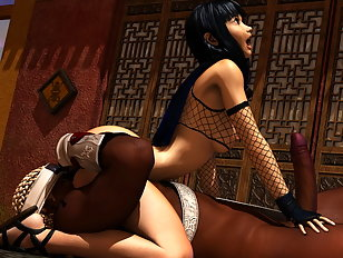 A naughty kunoichi enjoys a huge pulsating cock.