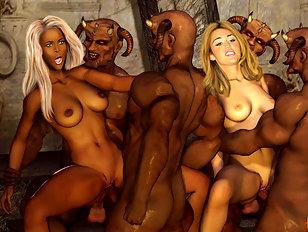 Mileys delicious boobs creamed by ogre cum.